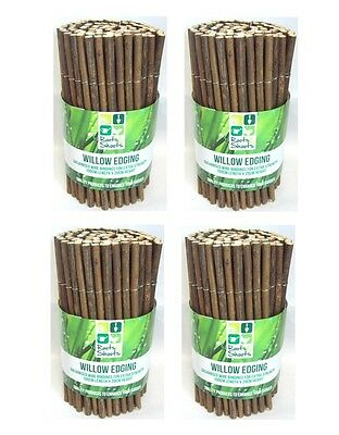 4 x Roots & Shoots Willow Wood Garden Edging 100cm x 20cm Lawn Border Edging