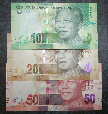 Set of 3Pcs South Africa 10 + 20 + 50 Rand Paper Money,Mandela,Uncirculated