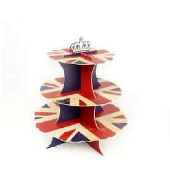 3 Tier Union Jack Cupcake Stand Party Decoration Display Queens 90th Birthday GB