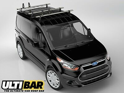 Van Guard Ford Transit Connect 2014-On L1H1 3 Bar Ulti Bars Roof Rack Rails