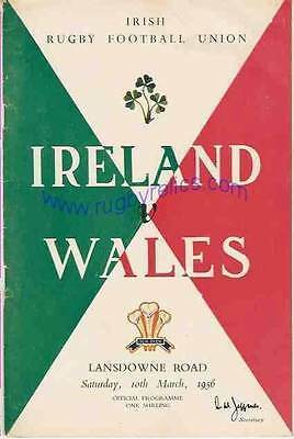 IRELAND v WALES 1956 RUGBY PROGRAMME