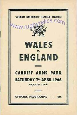 WALES v ENGLAND 1966 SCHOOLS UNDER 16 RUGBY PROGRAMME