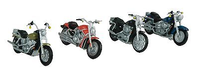 MTH 30-11084, O Gauge, 4-Pack Motorcycle Set #1