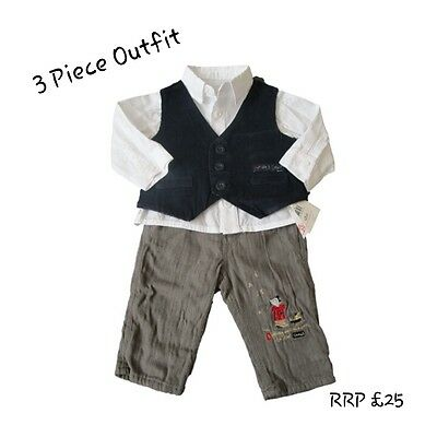 Baby Boy 3 Piece Suit Tuxedo Outfit Christening Wedding Formal Smart Waistcoat