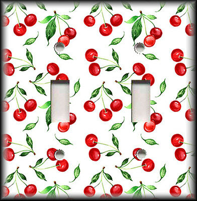 Metal Light Switch Plate Cover - Cherries Decor Kitchen Decor Cherry Red Green