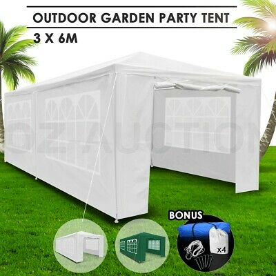 3x6m White Walled Waterproof Outdoor Folding Wedding Gazebo Party Marquee Tent