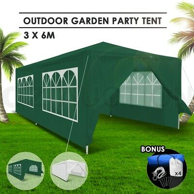 3x6m Green Walled Waterproof Outdoor Folding Wedding Gazebo Party Marquee Tent