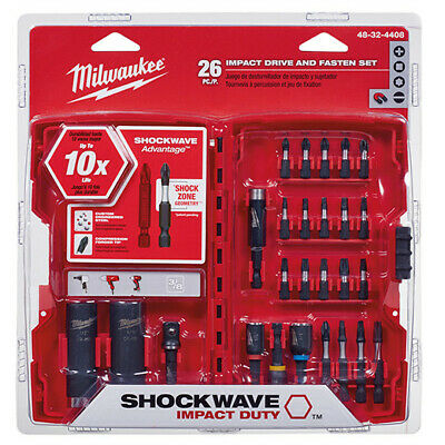 Milwaukee 26pc Shockwave Drive and Fasten Bit Set 48-32-4408 New