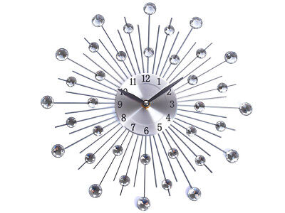 New Stylish 33Cm Silver Diamante Beaded Jeweled Round Sunburst Metal Wall Clock