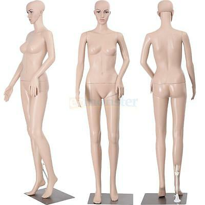 New Female Mannequin Plastic Realistic Display Head Turns Dress Form w/ Base