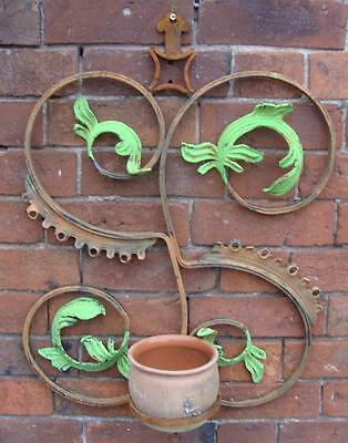 Ironwork Garden Wall Planter - Made in France - Scroll Design - Plant Pot Holder
