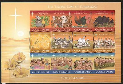Cook Islands 2011 12 Days Of Christmas Sheetlet Mnh