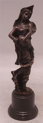 Classical Bronze Lady Pouring Urn Sculpture - Solid Marble Base - Signed