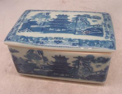 Pottery Blue & White Oriental Scene Box w/ Lid / Butter Dish RINGTONS Backstamp