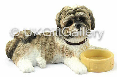 Fawn & White Shih Tzu Pup With Bowl Dog Ornament Figurine by Leonardo NEW BOXED