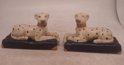 Staffordshire Pottery Figure - Pair of Spotted Black & White Laying Dogs