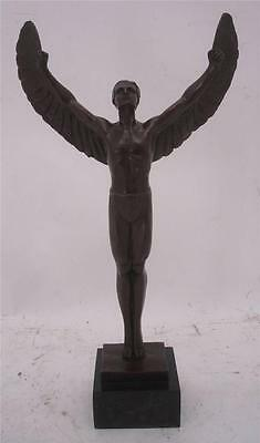 Superb Art Deco Style Bronze Sculpture depicting Icarus - Marble Base - 46cm