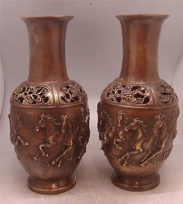 Pair of Chinese Bronze Vases - Oriental Running Wild Horses - Signed - 33cm