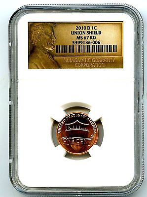 2010 D Us Mint Cent Union Shield Ngc Ms67 Rd Lincoln Label Super High Grade