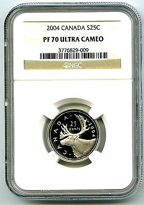 2004 Canada Silver Proof 25 Cent Ngc Pf70 Ucam Quarter Super Rare Only 4 Known
