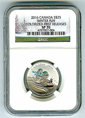 2016 $25 Canada Silver Winter Fun Ngc Sp70 First Releases Holiday Label 1/4+ Oz