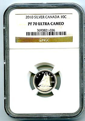 2010 Canada Silver Proof 10 Cent Ngc Pf70 Ucam Dime Super Rare Only 7 Known