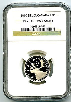 2010 Canada Silver Proof 25 Cent Ngc Pf70 Ucam Quarter Super Rare Only 5 Known