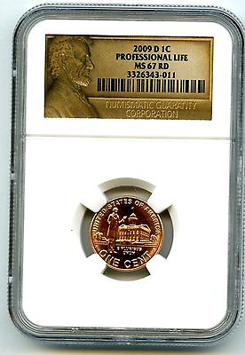 2009 D Us Mint Cent Professional Life Ngc Ms67 Rd Older Style Ngc Lincoln Label