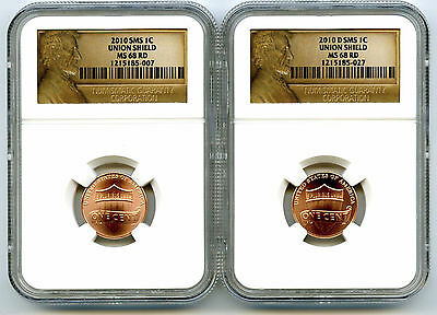 2010 P D Union Shield Lincoln Cents Sms Satin Copper Set Ngc Ms68 Uncirculated