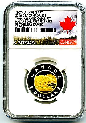 2016 Canada Silver Proof Toonie Two Dollar Ngc Pf70 Ucam .9999 Fine Gilt Gold
