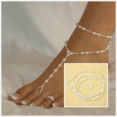 Bridal Beach Pearl Barefoot Sandal Foot Jewelry Anklet Bracelet Ankle Chain TBCA