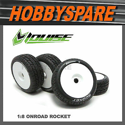 4 x LOUISE 1/8 ON ROAD CAR BUGGY TRUGGY WHEEL & TYRE B-Rocket Inferno BSD HPI