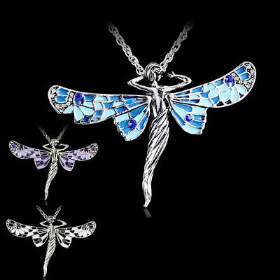 Vintage Retro Dragonfly Angel Crystal Pendant Chain Long Jewelry Necklace Gift