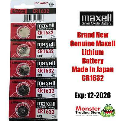 5 Pcs Maxell Cr1632 3V Lithium Button Coin Battery Made In Japan For Watch New