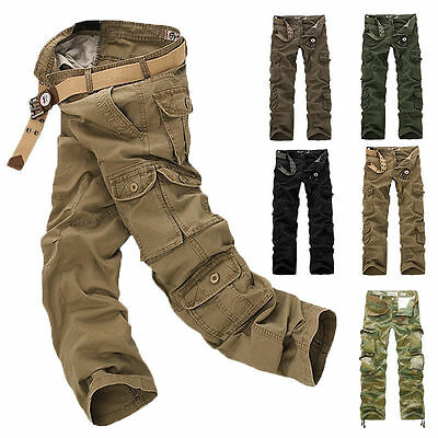 Solid Fatigue Tactical Combat Military Army Cargo Pants Trousers Casual Pocket B