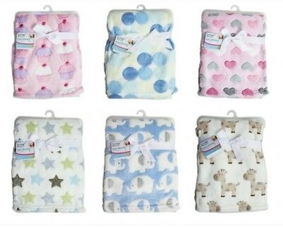 "Fleece Baby Blanket Luxury Unisex Soft for Babies from Newborn ""First Steps"""