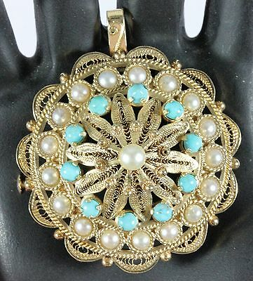 """Vintage 14K Gold Turquoise & Pearl Filigree Round 1.5"""" Brooch Pin Pendant  20.7g"""