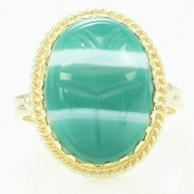 VINTAGE 14K Gold SCARAB RING Size 6.5 Carved White Green Banded Agate Amulet