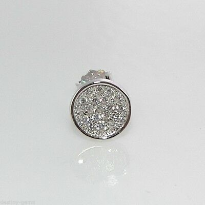 8mm Mens Single 925 Silver Micro Pave Created Diamond Stud Earring made in UK