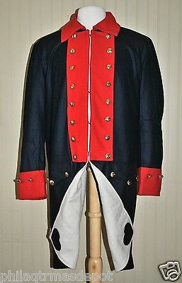 Revolutionary WarContinental Army Frock Coat Blue w/Red Collar Cuffs - Size 46