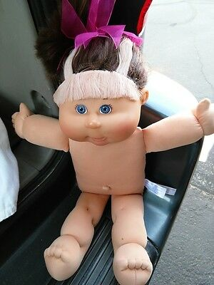 Cabbage Patch Kids Brown Hair Pink Highlight Nude Blue Eyes Doll