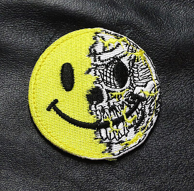 Skull Evil Smiley Face 3 Inch Tactical Morale Milspec Swat Hook Patch