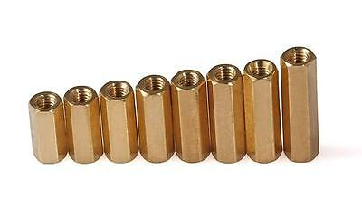 M3 Hex Tapped Brass Spacer Stand-Off Pillar Female to Female Brass Threaded