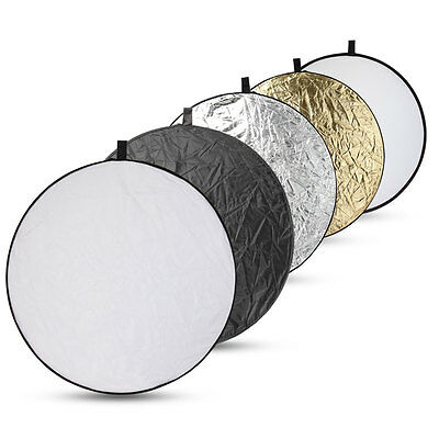 "43"" 110cm 5in1 Reflector Collapsible Photo Photography  Studio Light Panel UK"