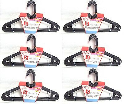 48 x Strong Black Plastic Adult Laundry Coat Clothes Hangers Dress Wardrobe