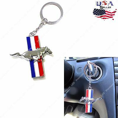 Chrome Finish Pony Horse Key Chain Fob Ring For Ford Mustang GT 500 Cobra Shelby