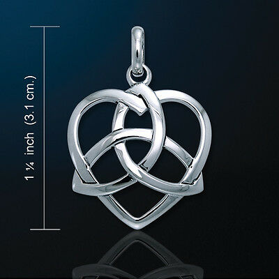 Lovely Charmed Symbol Trinity in Heart Triquetra Pendant in White Bronze