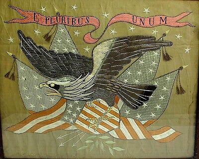 Rare MEIJI-ERA JAPANESE EXPORT Silk Embroidery AMERICAN EAGLE  c. 1870   antique