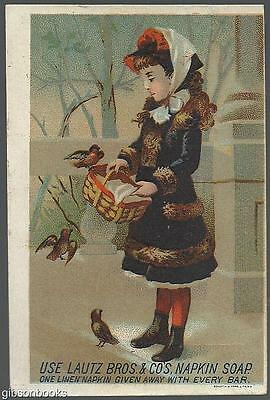 Victorian Trade Card for Lautz Bros. Napkin Soap with Girl Feeding Robins