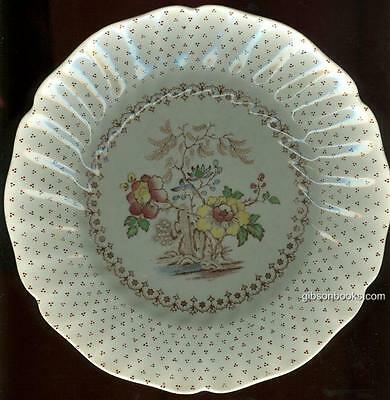 Vintage Royal Doulton China Grantham Luncheon Plate with Brown Flowers